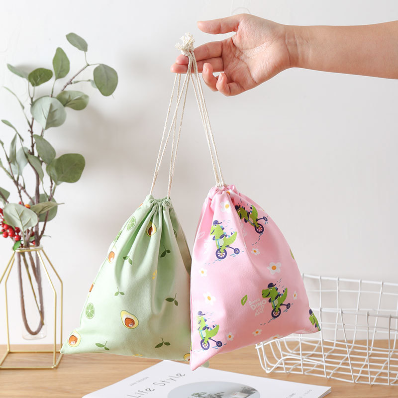 product-GF bags-Eco Polyester Cotton Shopping Bag Avocado Flowers Drawstring Shopping Bags Cute Groc