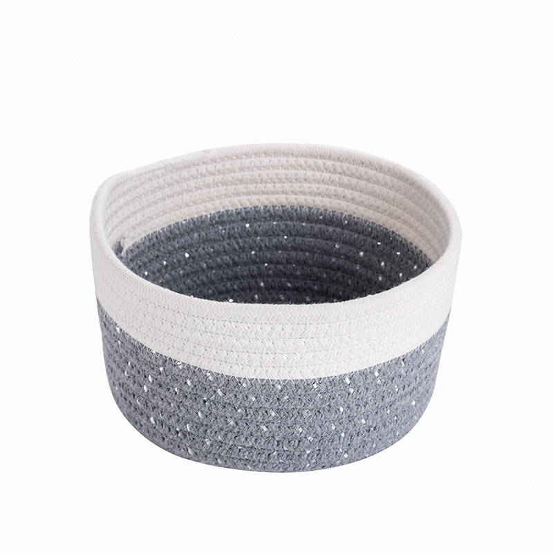 Children's room toys or daily necessities gray storage basket, 100% cotton rope basket