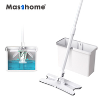 Masthome Twist Cleaning X Type Flat Mop Microfiber floor dust mop with bucket Household Cleaning Tools