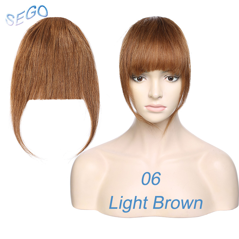 Sego 25g Neat Front Fringe Clip In Human Hair Bangs Remy Hair Extensions Sweeping Side Blunt Bang Natural Hairpieces 8 Colors Bangs Aliexpress