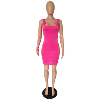 Rose red dress total 7 colors wholesale women boutique clothing summer dress 2020 sexy dresses for night club female clothing