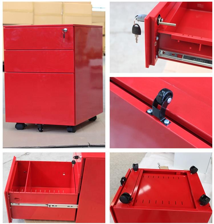 कार्यालय उपकरण A4 फ़ाइल कैबिनेट के लिए लाल lockable 3 दराज भंडारण मोबाइल कुरसी