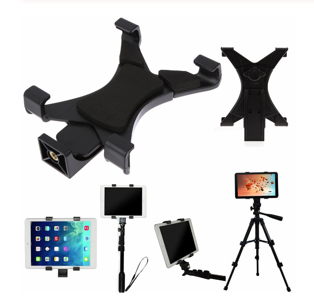 """2020 Hot Universal Tablet Tripod Mount Clamp Adapter Holder for iPad 2/3/4/Air/Air2 /mini Bracket Clamp 1/4"""" Thread"""