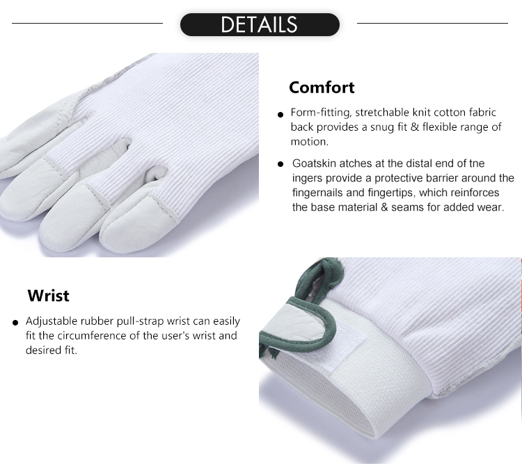 Customize wholesale cotton top goatskin leather anti cut work safety driving gloves