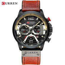 CURREN повседневные спортивные часы для мужчин синий топ бренд класса люкс Военная кожа Хронограф наручные часы Мужские часы Мода 8329(Китай)