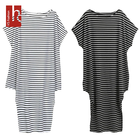 Hs Fashion Summer Women Short Sleeve Striped Off-Shoulder Irregular Dress