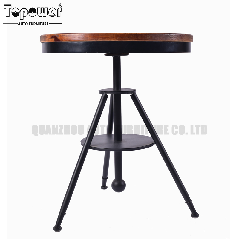 Adjustable Black Metal Round Bar Table Metal Frame Wooden Dining Table