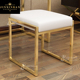 modern high end leather foot ottoman bench stool for living room stainless steel gold metal frame white padded foot stool
