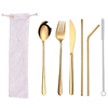 6pc gold cutlery & white bag