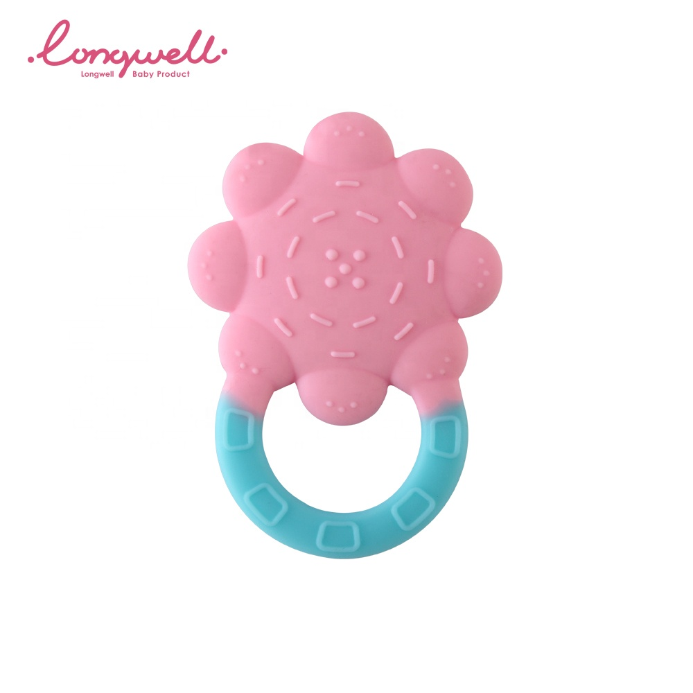 Flower Shape Cute Teething Toys Factory Sensory Soft Silicone Infant Bite Training Easy Grasp Ring Baby Silicone Teether Ring