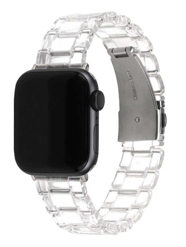 Compatible With Copper Stainless Steel Buckle Fashion Clear Transparent Resin Watch Band Strap For Apple Watch Series 4/5/6