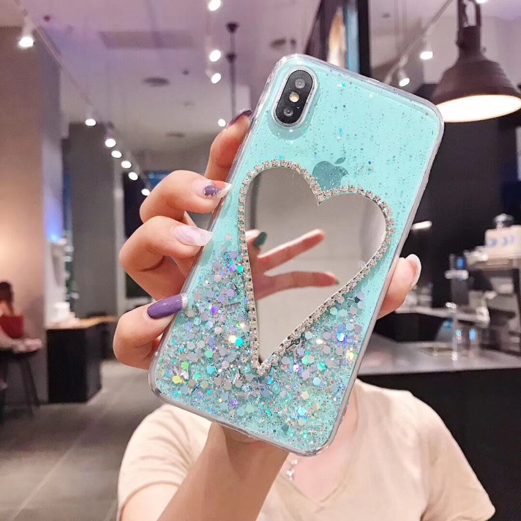 For iphone x case mirror clear silicon glitter soft silicone mobile phone cover with heart shaped mirror carcasa de telefono