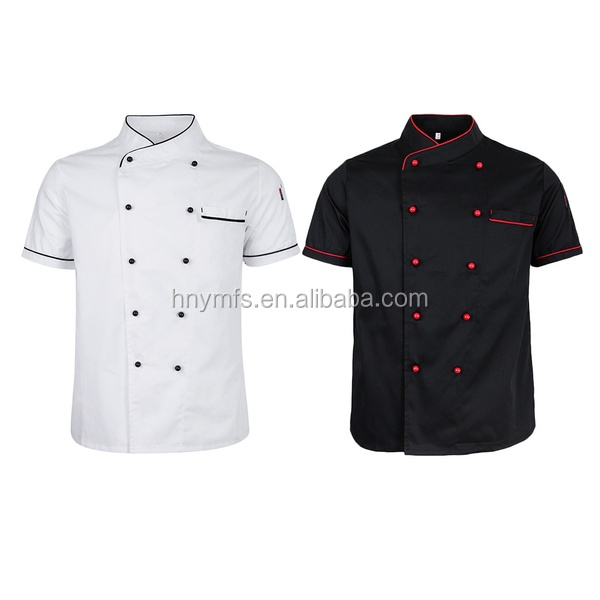 OEM hotel clothing professional custom chef uniform factory overalls black and white for  restaurant in the best price