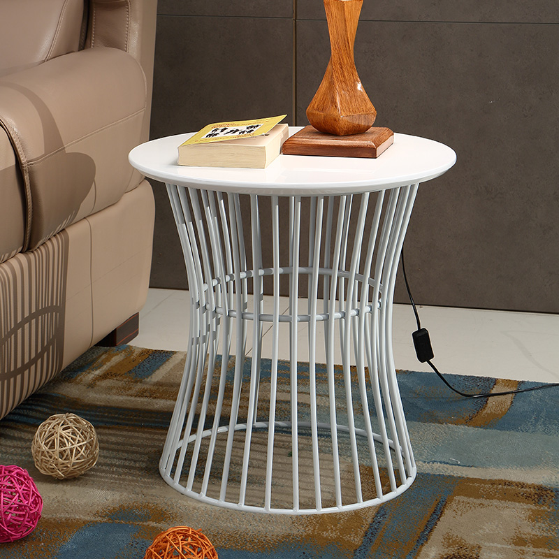 Hot Sale Metal Tube High Gloss Pub Living Room Side High Coffee Table