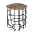 Industrial style metal base wood top round side table