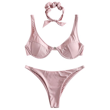 ZAFUL Shiny Bügel Bikini Set mit Haar Band Bikini Sexy