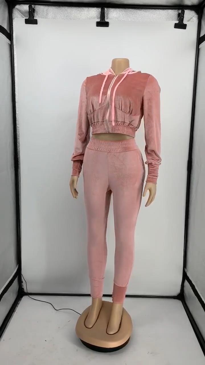 女性秋はコルセット詳細パーカークロップトップとズボン衣装トラックスーツ韓国ベルベットレジャーツーピーススーツ