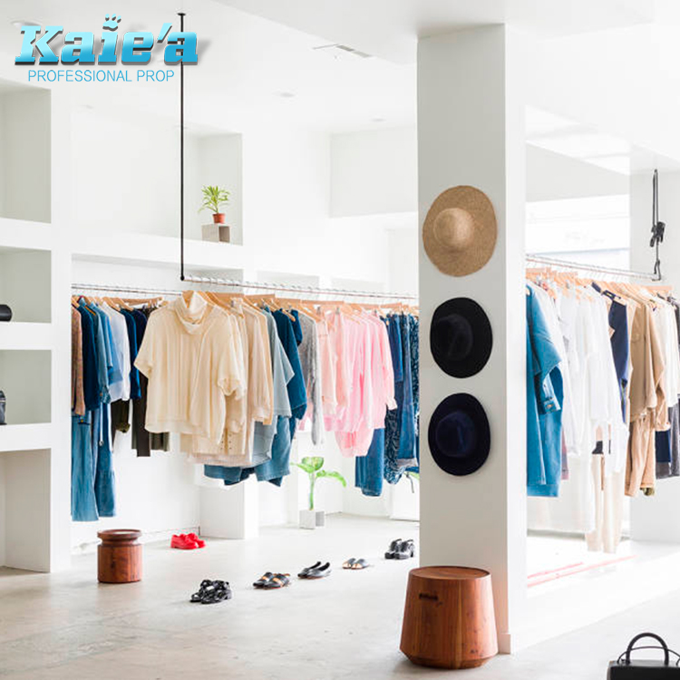 Design Mdf Apparel Store Display Clothing Dress Shop Furniture Garment Display For <strong>Retail</strong>