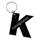 Personalised vintage custom acrylic laser cut wholesale black D shape english initial alphabet letters key chain