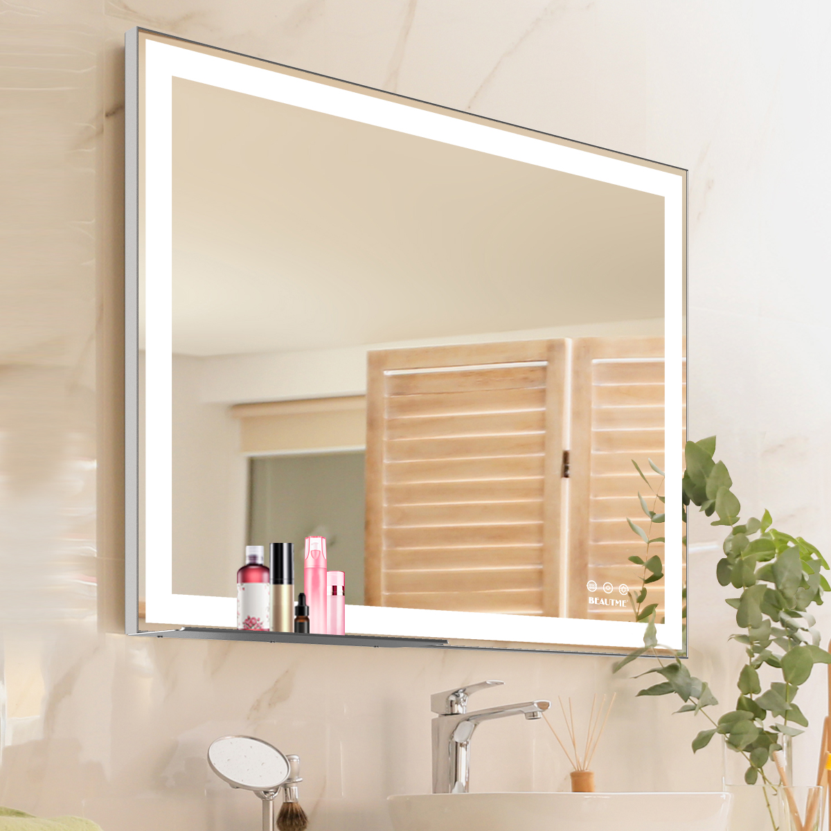 hollywood salon vanity make up wall bathroom Makeup mirror with led Lights Strip with Storage Tray