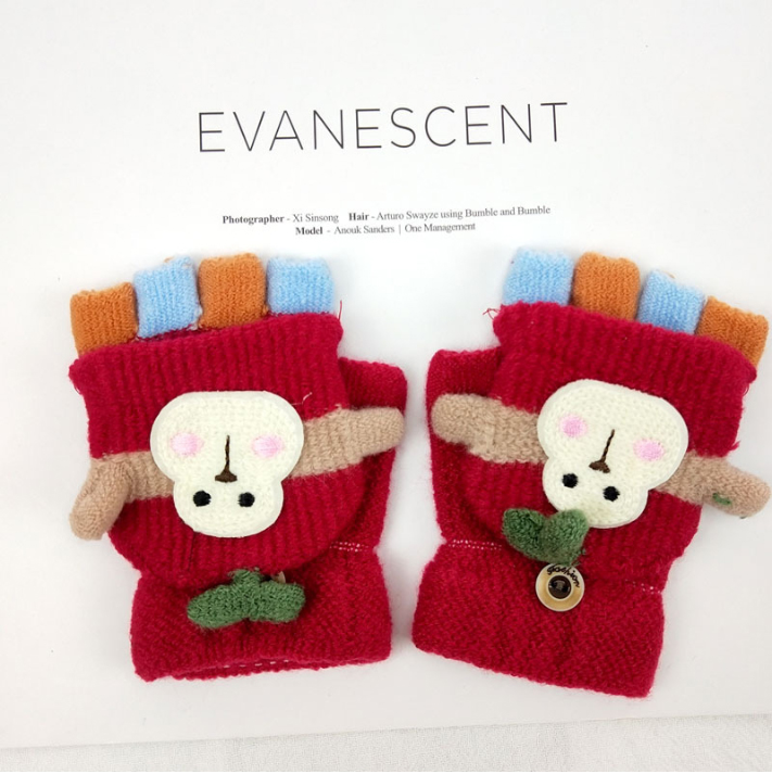Knitted Gloves Kids Winter Mittens with Snowmen Design