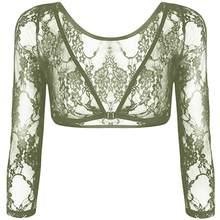 Женская блузка с длинным рукавом, короткий сетчатый кружевной топ с треугольным вырезом, лето 2020(Китай)