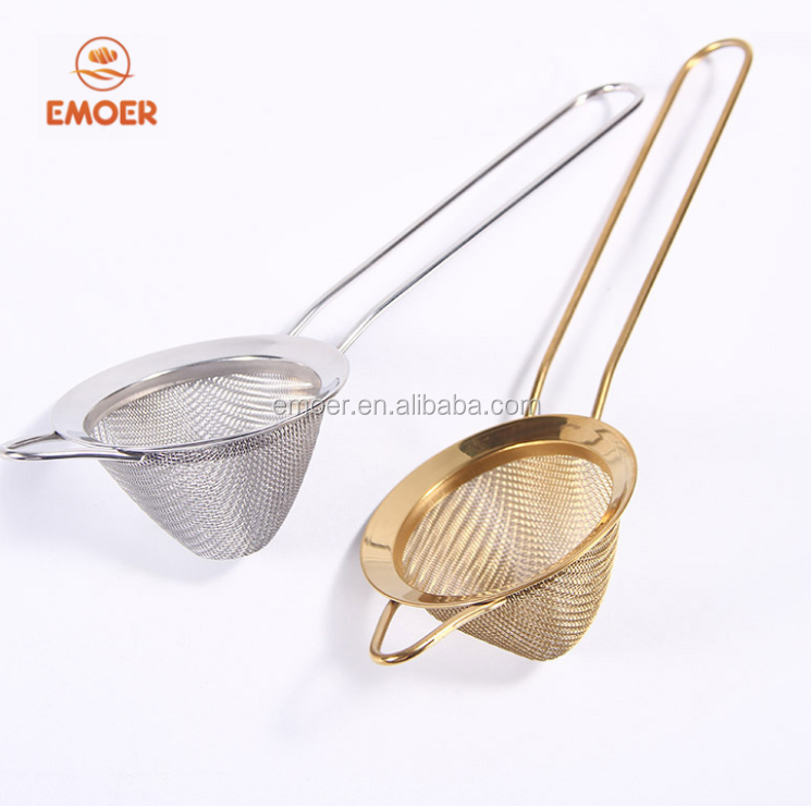 ROSE GOLD stainless steel tapered oil grid  strainer set  Hand held filter round mesh strainers