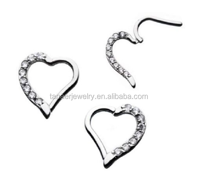 New arrival 16G Clear Gem Heart Surgical Steel Hinged Ring Septum clicker Tragus Helix Daith Cartilage Earring Piercing Jewelry
