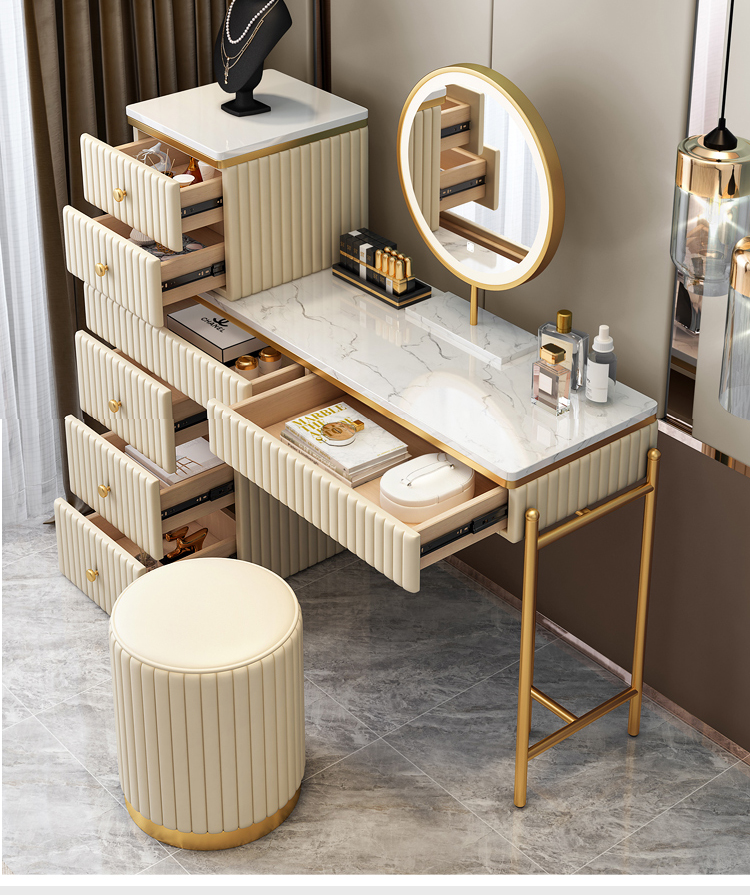 Nordic simple light luxury bedroom dresser storage cabinet dressing table girl makeup table with LED mirror and cabinet