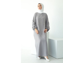 New design Hand sewn drill crepe Tightening the cuff solid color women islamic clothing abaya muslim dress