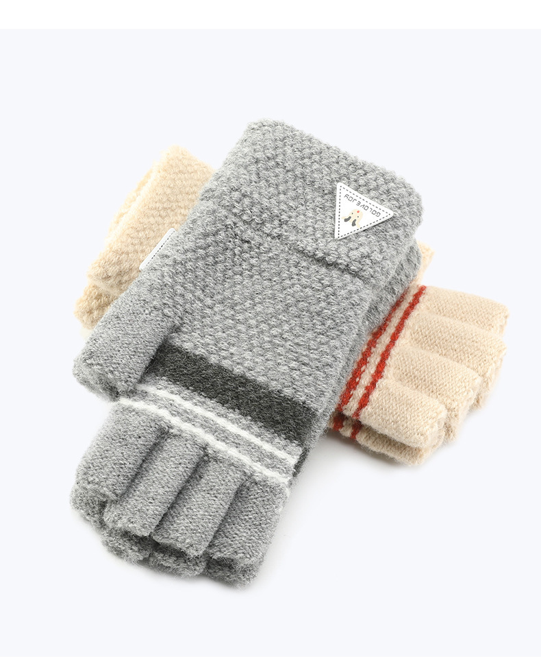 Autumn Winter 6-12 days Children Knitted Warm Mittens Add Long Wrist Half-finger Fingerless gloves