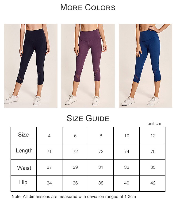 KCOA Cheap High Quality Stretched Elastic Sports Women Gym Fitness Mesh Capri Pants Workout Yoga Leggings