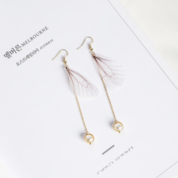 Newest Design Artificial Feather Long Chain Pearl Drop Earrings White Angel Wing Charm Dangle Earrings
