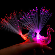New led toys colorful peacock shape led glow light ring led finger ring for party