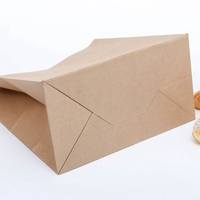 Reusable Biodegradable Recyclable gusset flat bottom food craft paper bag custom logo printing food take away package