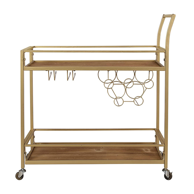 Gold Iron Portable Utility Movable 2 Tier Kitchen Trolley Rolling Cart Bar Cart Rack Storage With Wheels