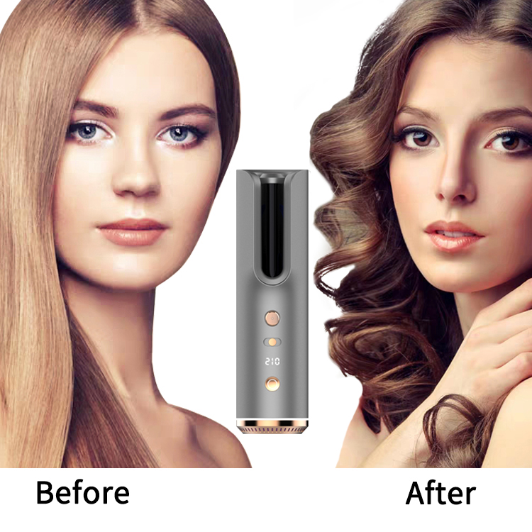 Portable USB Rechargeable Curling Iron Ceramic Automatic Hair Curler