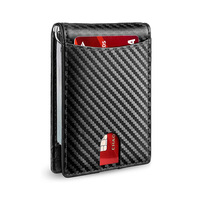 Best selling minimalist slim rfid leather card holder wallet money clip for men
