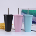 Double Wall Stainless Steel Tumbler Double Wall Coffee Cup Stainless Steel Tumbler For Milk And Coffee Vacuum Insulated Coffee Tumbler With Straw