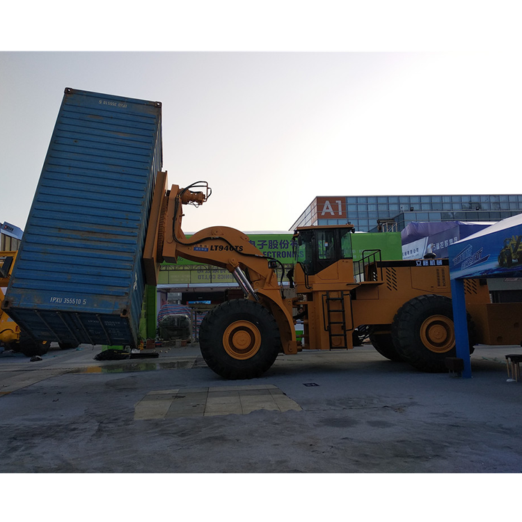 Full load container lifting forklift with rotating clamp