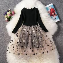Детские кружевные вечерние платья с длинными рукавами для девочек платья-пачки со звездами на день рождения детская повседневная одежда ...(Китай)