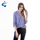 Good Sealed cheap fashion design long sleeve stripe breathable rayon blouse in kimono style