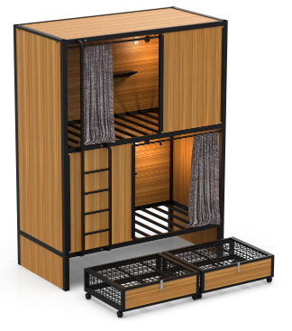 Modern hotel and hostel lodge double Capsule loft bunk bed sleeping box pods for hotel and hostel