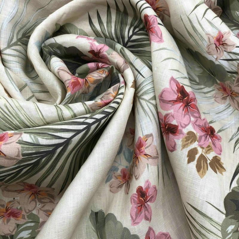 Custom digital printing 14S 160GSM 100% Linen Fabric