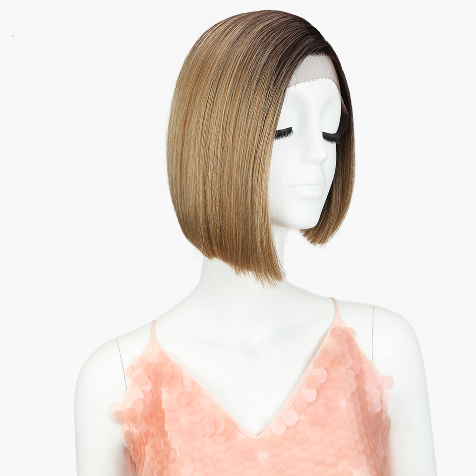 Sleek best selling short straight with baby hair natural black blonde heat resistant pixie cut short <strong>full</strong> <strong>lace</strong> <strong>synthetic</strong> <strong>wig</strong>