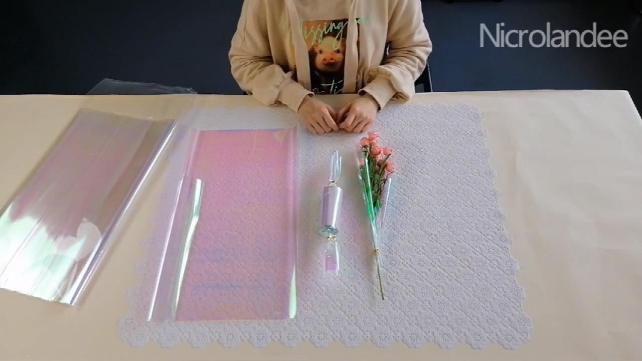 Nicro Holographische Regenbogen Nach Iridiscent Rosen Modische Kreative Bouquet DIY Rolle Blume Verpackung Papier Film