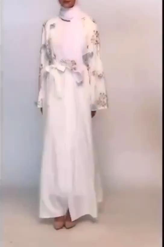 패션 레이디 이슬람 드레스 핑크 오픈 자수 카디건 Abaya