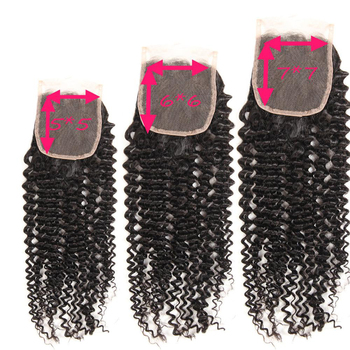 Wholesale Unprocessed Virgin Hidden Knots Indian Real Hair Three Way Part 5X5 6X6 7X7 Lace Virgin Kinky Curly Closure Bleached