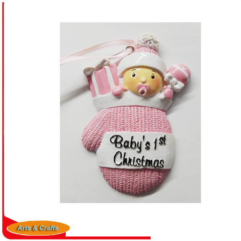 Polyresin Customized Ornament <strong>Baby</strong> in pink colors For <strong>Baby's</strong> <strong>First</strong> <strong>Christmas</strong>