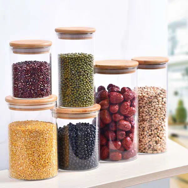 Bamboo lid Glass Spice Jar Set And High Borosilicate Glass container Jars vacuum seal glass jars in kitchen